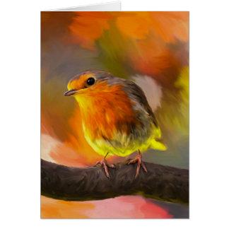 Robin Bird On Branch In The Garden Art Portrait カード
