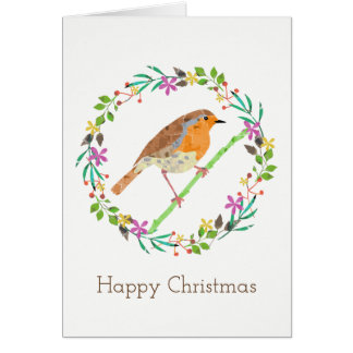Robin the bird of Christmas カード