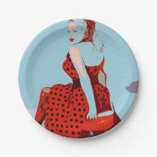Rockクールなレトロの水玉模様の女性及びロールスタイル ペーパープレート