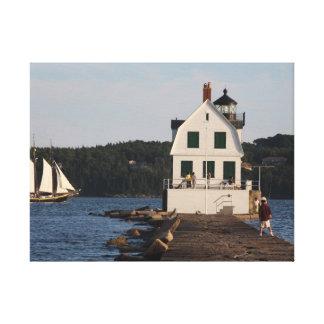 Rocklandの防波堤の灯台 キャンバスプリント