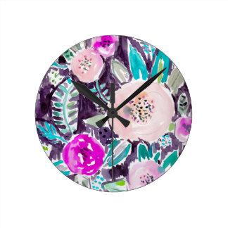 Rockridgeの絵画的な水彩画の花柄の庭 ラウンド壁時計
