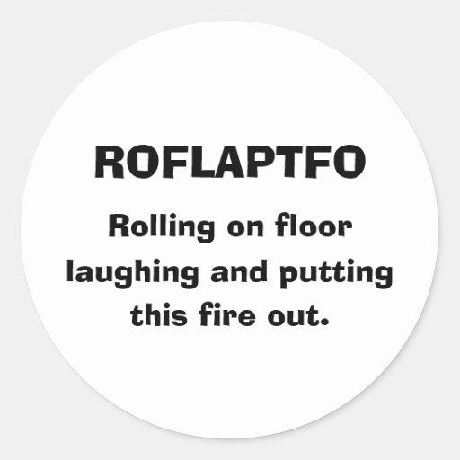 ROFLAPTFO、 転がること 床、 笑うこと putti… 丸形シール・ステッカー