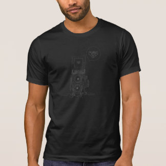 Rolleiflexのカメラの輪郭のカッコいいのエレガントな一見のTシャツ Tシャツ