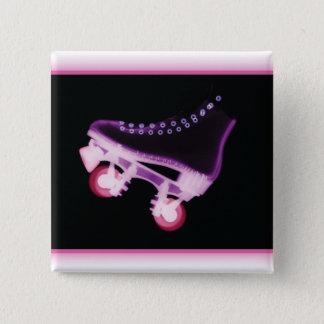 RollerskateのピンクのX線 5.1cm 正方形バッジ