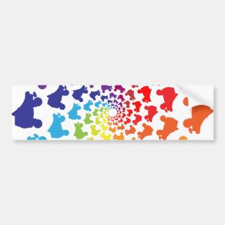 rollerskateの虹の円 バンパーステッカー