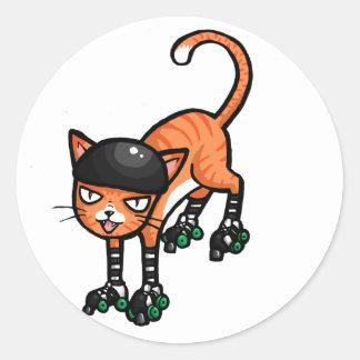 rollerskatesのオレンジ虎猫 ラウンドシール