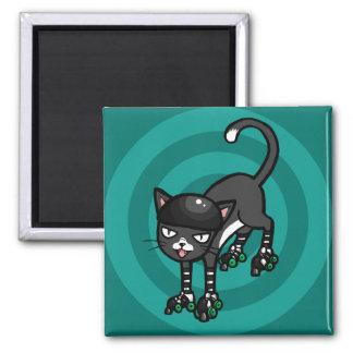 Rollerskatesの白黒猫 マグネット
