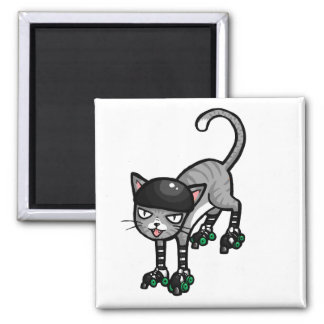 RollerSkatesの銀製の虎猫 マグネット