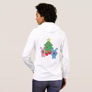 Rollysのクリスマスのジッパーのフード付きスウェットシャツ パーカ