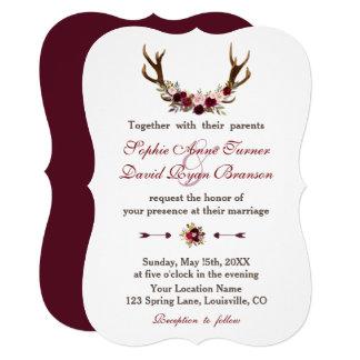 Romantic Burgundy Marsala Floral Antlers Wedding カード