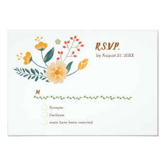 Romantic Foxes and Rustic Floral Foliage RSVP カード