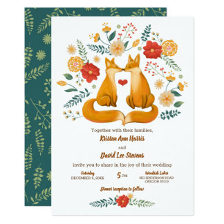 Romantic Foxes and Rustic Floral Foliage Wedding カード