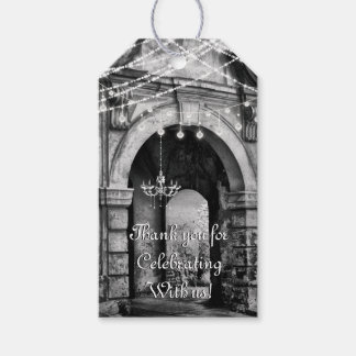 Romantic Lights Gothic Archway Wedding Thank You ギフトタグ