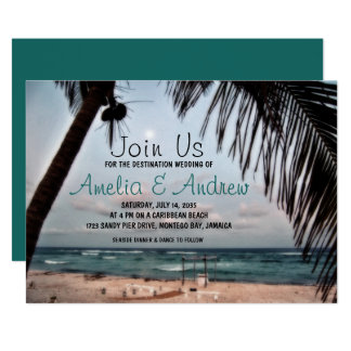 Romantic Tropical Beach Photo Destination Wedding カード