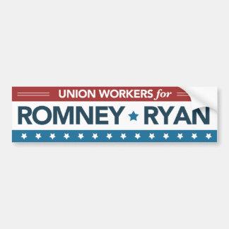 Romneyライアンのバンパーステッカーのための組合労働者 バンパーステッカー