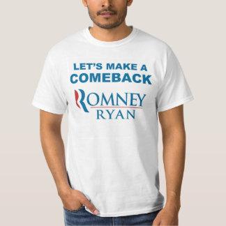 Romneyライアンの2012年のカムバックの前部及び背部 Tシャツ