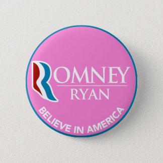 Romneyライアンはアメリカの円形のピンクで信じます 5.7cm 丸型バッジ