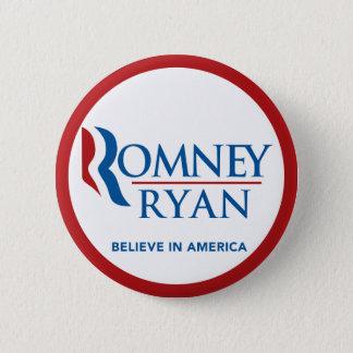 Romneyライアンは円形アメリカで信じます(赤いボーダー) 5.7cm 丸型バッジ