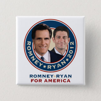 Romneyライアン2012の正方形のキャンペーンボタン 5.1cm 正方形バッジ