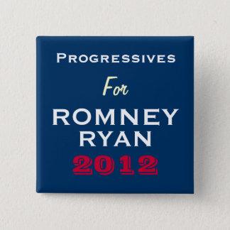 Romneyライアン2012ボタンのための進歩論者 5.1cm 正方形バッジ