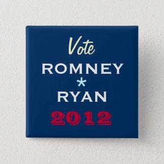 ROMNEY/ライアン2012のキャンペーンボタン(正方形) 5.1CM 正方形バッジ