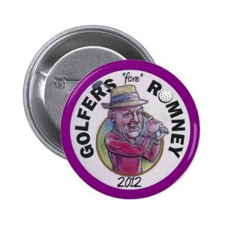 Romney 2012年のためのゴルファー 5.7cm 丸型バッジ