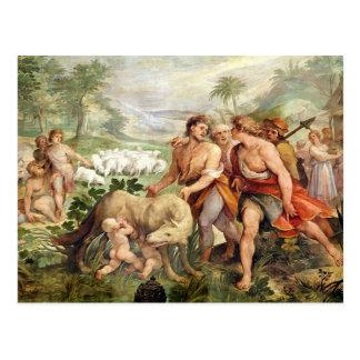 Romulusは彼女オオカミによって授乳しました ポストカード