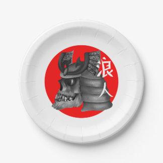 Roninの武士の日本旗のスカル ペーパープレート