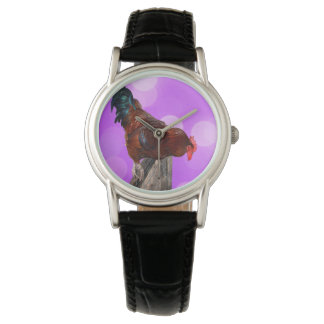 Rooster_On_Fence_Looking_Down_Ladies_Leather_Watch 腕時計