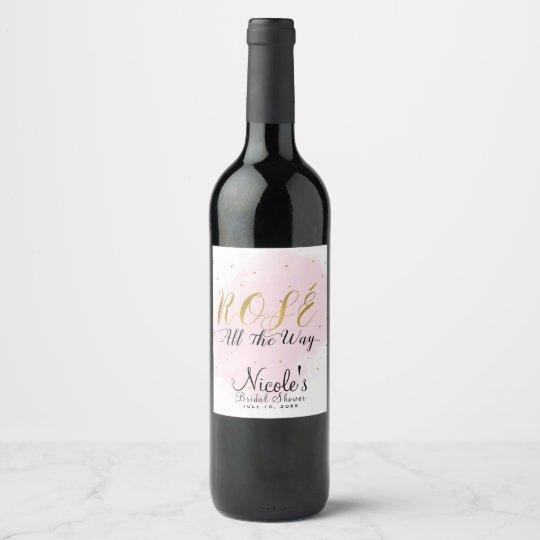 Roséのずっと誕生会のピンク及び金ゴールドのワイン ワインラベル