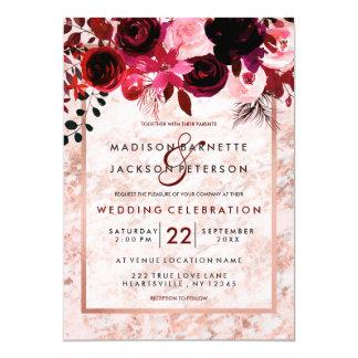 Rose Gold & Burgundy Floral Wedding Invitations カード