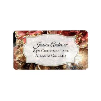 Rose Gold Christmas Address Stickers ラベル