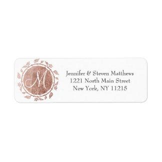 Rose Gold Floral Monogram Initials and Name Labels 返信用宛名ラベル