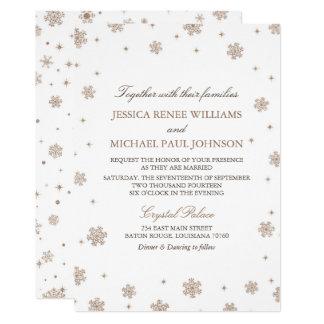 Rose Gold Glitter Winter Wonderland Wedding カード