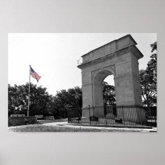 Rosedaleの記念のアーチおよび旗、カンザスシティ、BW ポスター