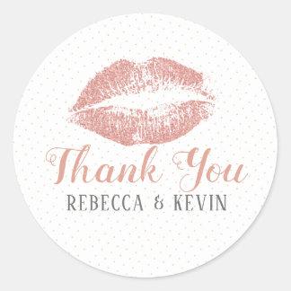 Roses-Gols Lips Kiss Thank You Modern Typography ラウンドシール