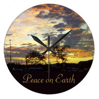RoseWrites著地球の柱時計の平和 ラージ壁時計