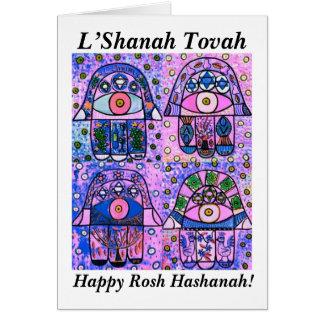 Rosh Hashanah - Hamsaの4ピンクのヴィンテージTapastry カード