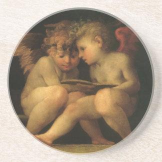 Rosso Fiorentino著読んでいる2匹の天使 コースター