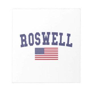 Roswell GA米国の旗 ノートパッド