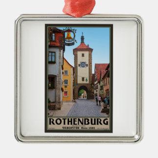 Rothenburg od Tauber - Sieberstor シルバーカラー正方形オーナメント