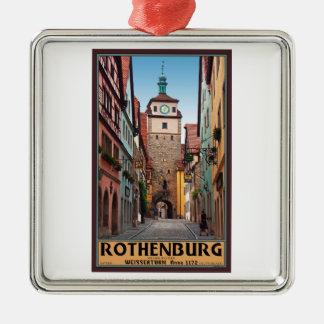 Rothenburg od Tauber - Weisserturm シルバーカラー正方形オーナメント