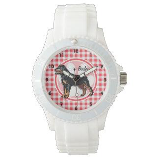 Rott; 赤と白のギンガム 腕時計