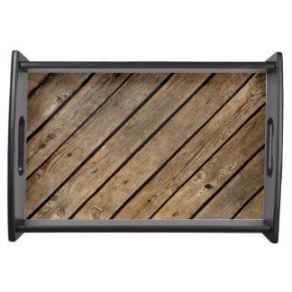 Rough Wood Planks Design Serving Tray トレー