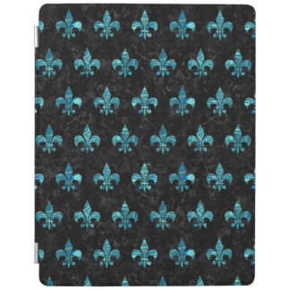 ROYAL1黒い大理石及び青緑色水(R) iPadスマートカバー