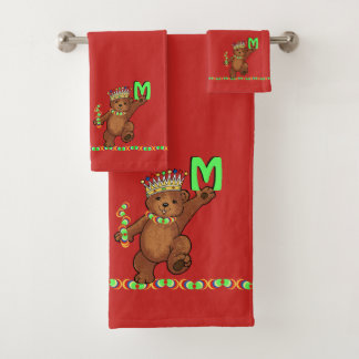 Royal Bear Crown Prince Custom Monogram バスタオルセット