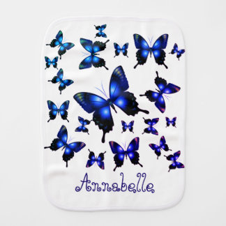 Royal Blue Elegant Whimsical Butterflies バープクロス
