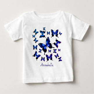 Royal Blue Elegant Whimsical Butterflies ベビーTシャツ