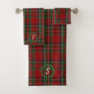 Royal Stewart Tartan Monogrammed Bath Towel Set バスタオルセット