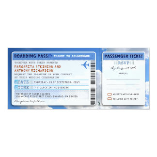 rsvpとの空の搭乗券の結婚式のチケット招待 カード
